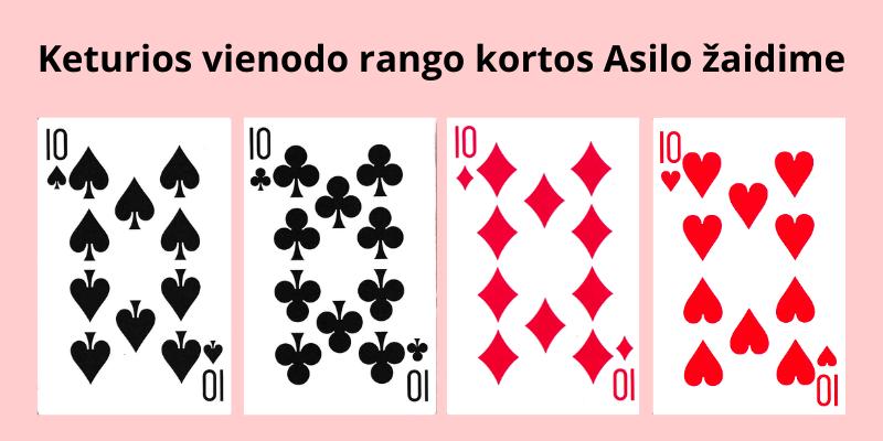 Kortų žaidimas Asilas taisyklės - kaip žaisti Asilą su kortomis - tereikia surinkti keturias vienodas kortas