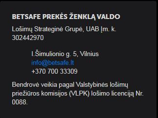 Betsafe Tonybet Lietuva kontaktai Lietuvoje